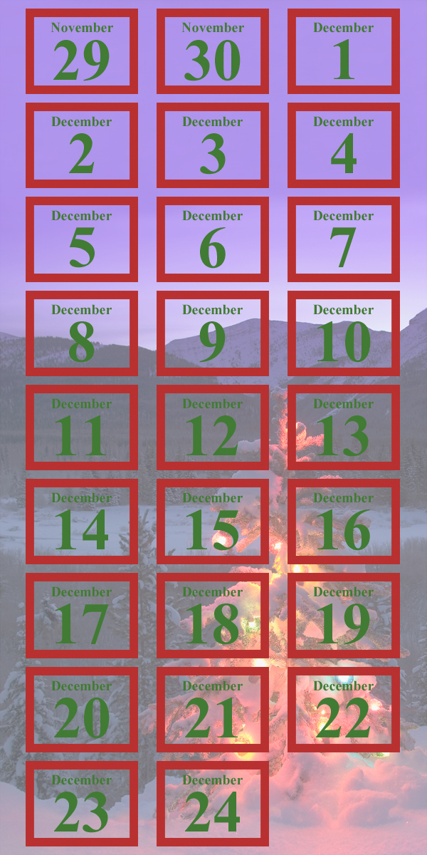 An Advent calendar, in which each date links to a Christmas story from Norman Vincent Peale