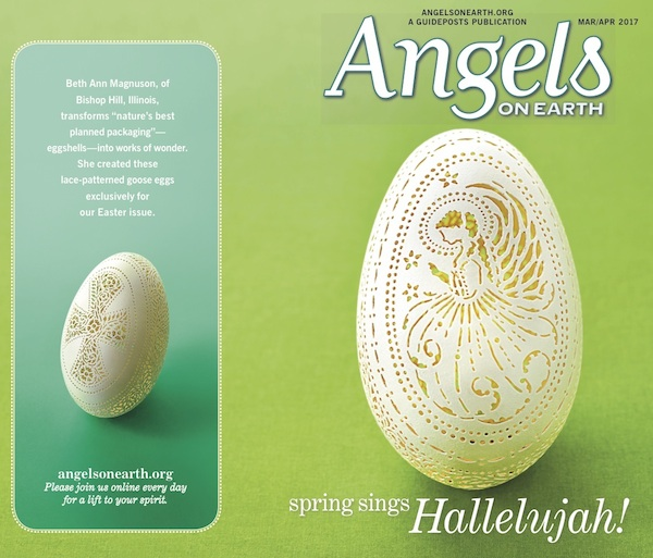 Angel on eggshell for Angels on Earth magazine