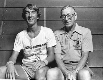 Steve Laube and Coach John Wooden in 1974.