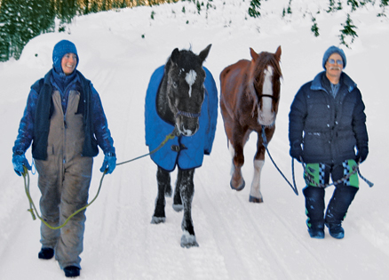 Birgit and Belle (left) and a friend with Sundance