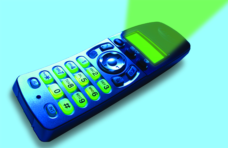 An artist's rendering of of a glowing cell phone