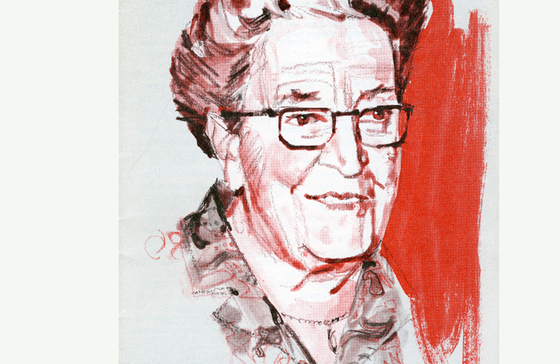 An artist's portrait of Corrie ten Boom