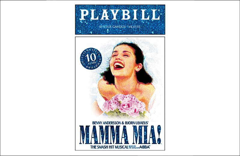 """A Playbill from the Broadway production of """"Mamma Mia!"""""""