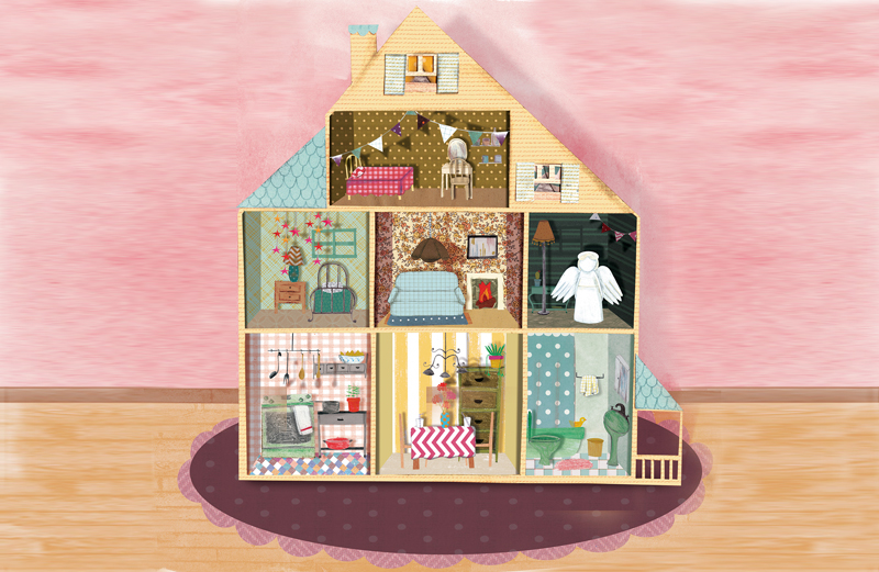 An artist's rendering of a fuly furnished dollhouse