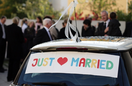 Just Married sign on a car