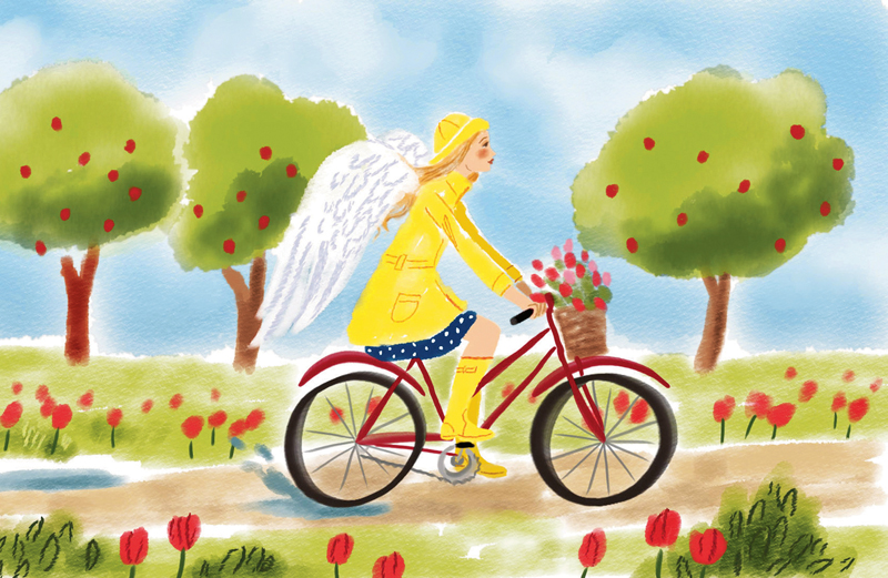 An artist's rendering of a young angel on a bike wearing yellow rain gear