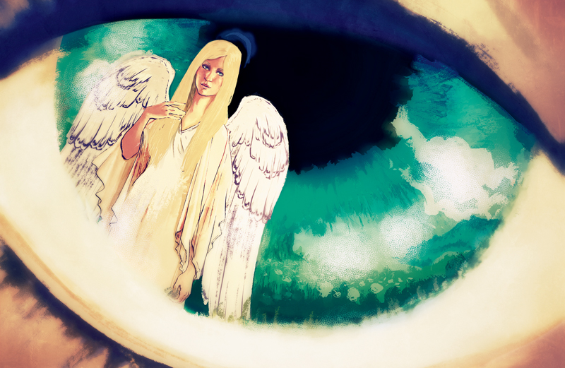 An angel reflected in the iris of a woman's eye