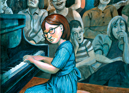 An artist's rendering of young Roberta at the piano