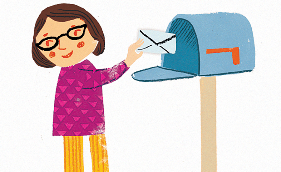 An artist's rendering of a woman mailing a letter