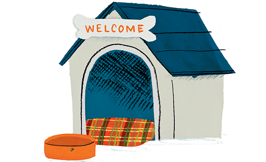 An artist's rendering of a dog house with a Welcome sign