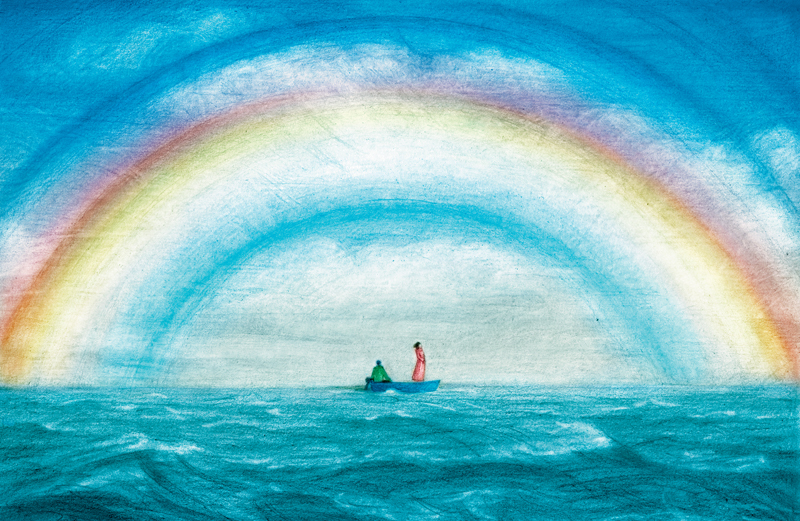 An artist's rendering of a couple in a small boat with a fog bow over them