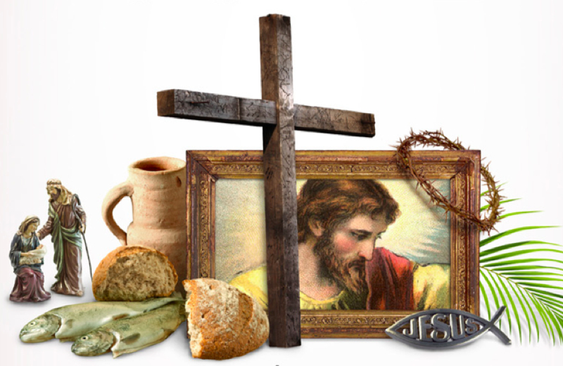 A picture of Jesus, the cross, the thorn of crowns, a loaf of bread and a fish