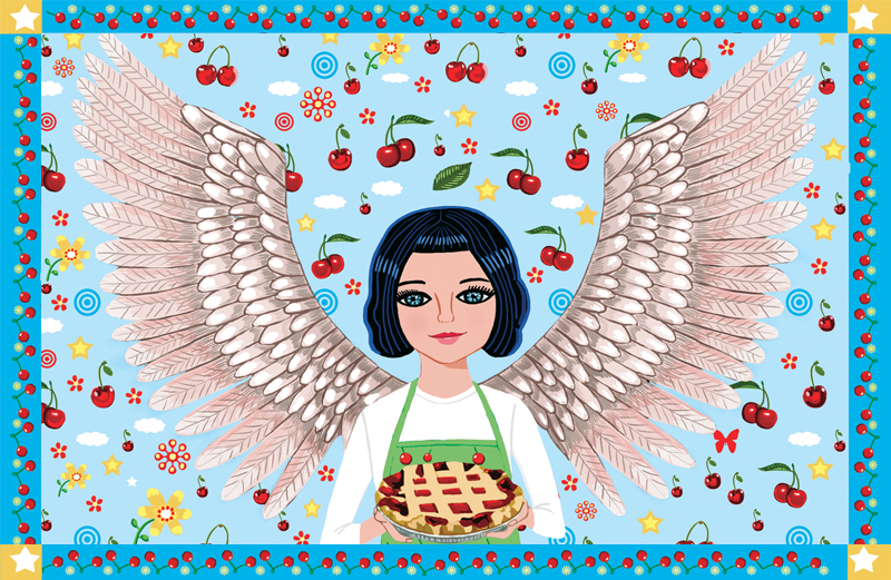 An artist's rendering of a smiling angel holding a cherry pie