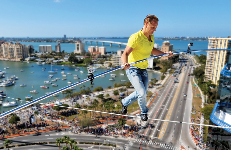 Nik Wallenda on a high wire 200 feet over Sarasota, Florida