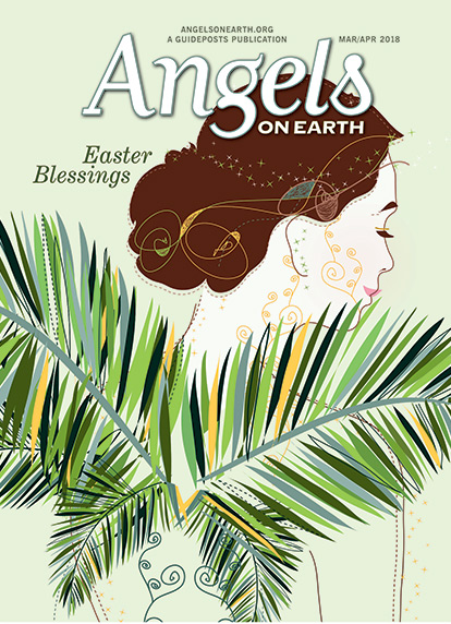 An artist's rendering of an Easter angel with palm fronds for wings from the cover of the March/April 2018 issue of Angels on Earth magazine