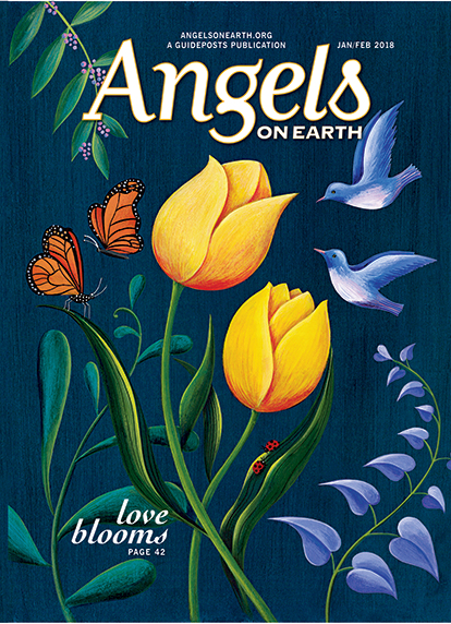 An artist's rendering of blossoms, birds and butterflies from the cover of the Jan/Feb 2018 issue of Angels on Earth magazine