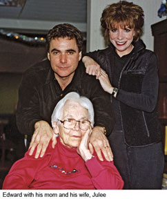 Edward with his mom and his wife, Julee