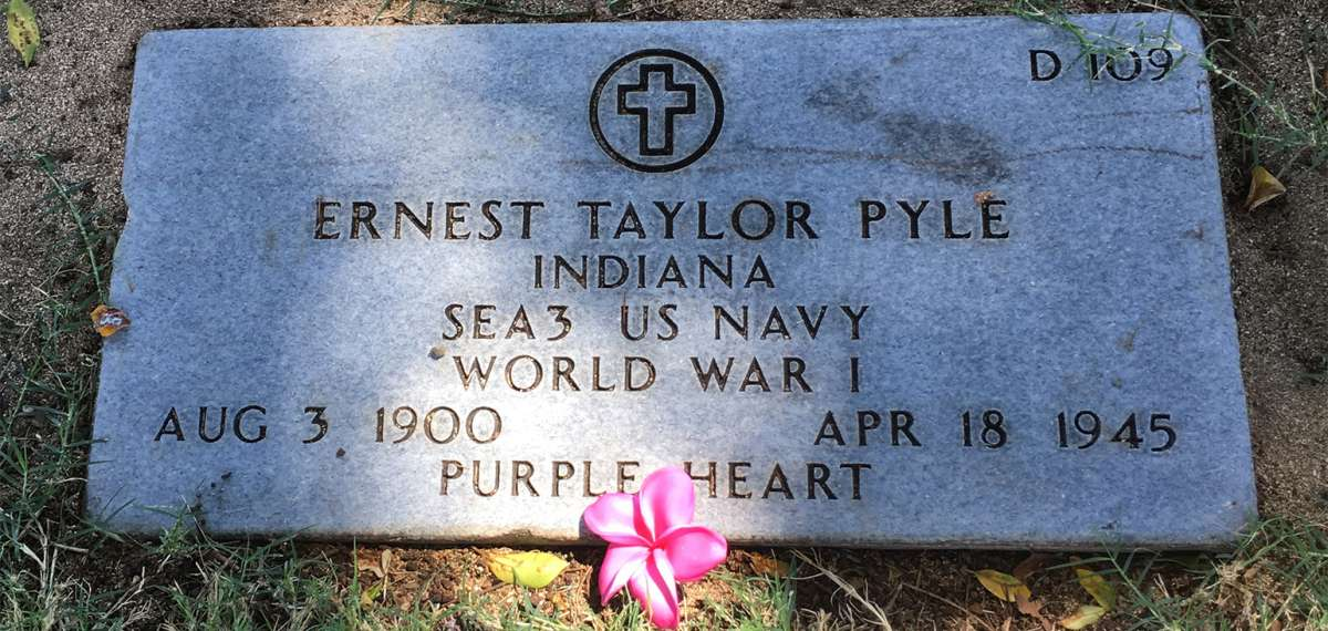 Ernie Pyle's final resting place at the National Memorial Cemetery of the Pacific in Honolulu, Hawaii
