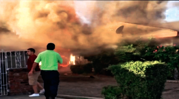 Screengrab from video of Fresno fire