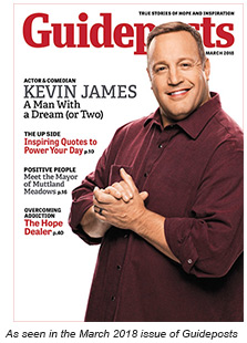 Kevin James on the cover of the March 2018 issue of Guideposts