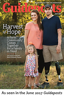 Zach, Jodi and Brynlee Short on the cover of the June 2017 Guideposts