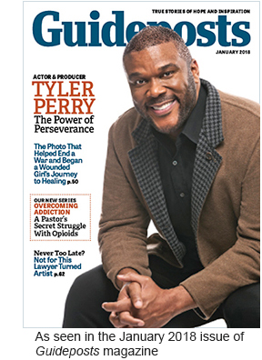 Tyler Perry on the cover of the January 2018 issue of Guideposts