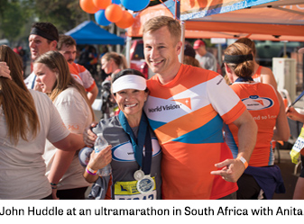 John Huddle at an ultra marathon in South Africa with Anita.