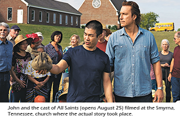 John and the cast of All Saints filmed at the Smyrna, Tennessee, church where the actual story took place