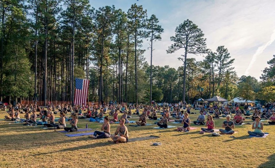 Keith Mitchell teaches yoga to veterans at Fort Bragg