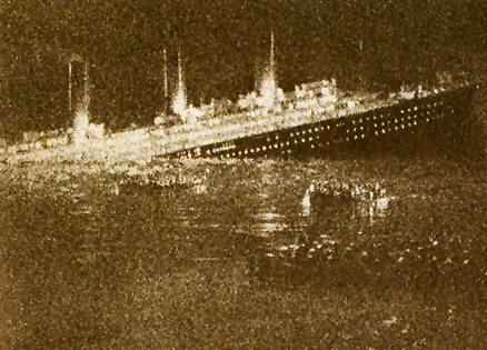 An artist's rendering of the Titanic going down