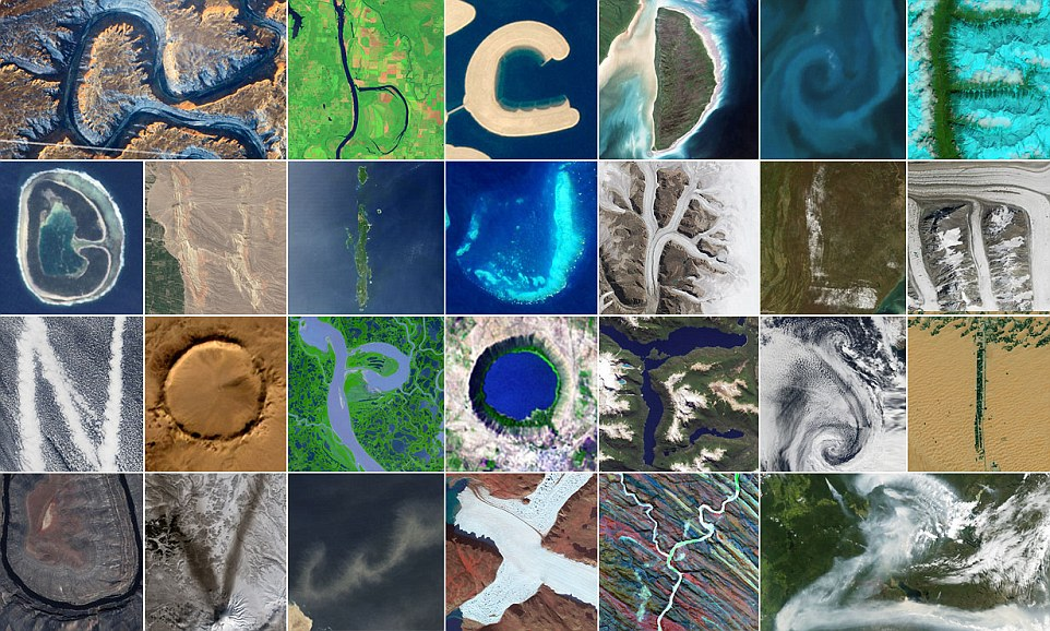 Images taken of Earth from space by NASA depicting letters of the alphpabet. Photos courtesy NASA Earth Observatory.
