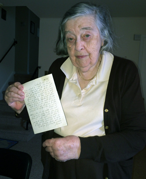 Miriam holds the letter bearing false news of her passing