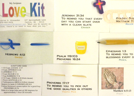 Items from a Scripture Love Kit