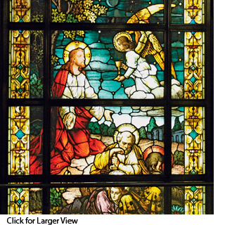 Stained glass from Our Lady of the Angels church