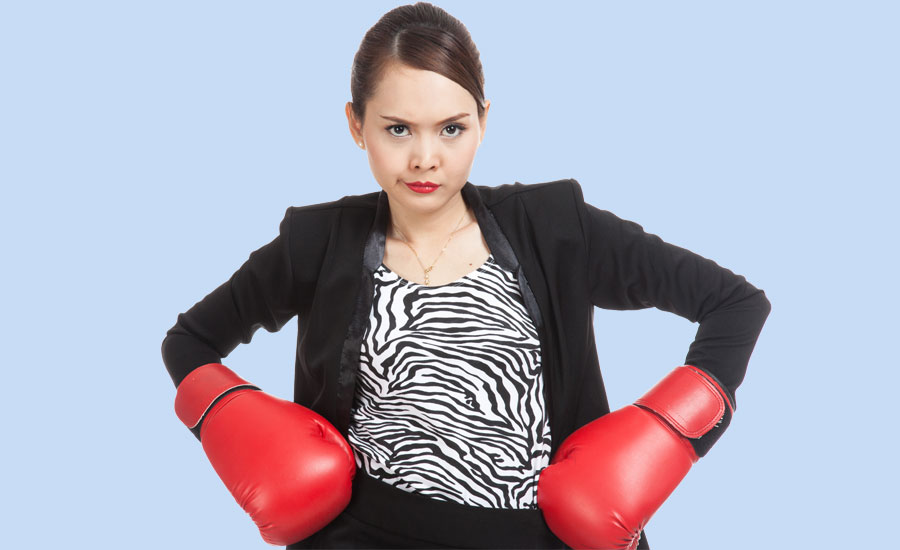 Guideposts: An angry woman has donned boxing gloves, itching for a fight