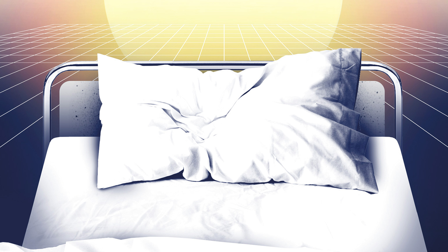 An artist's rendering of a glowing heavenly light hovering over a patient's bed