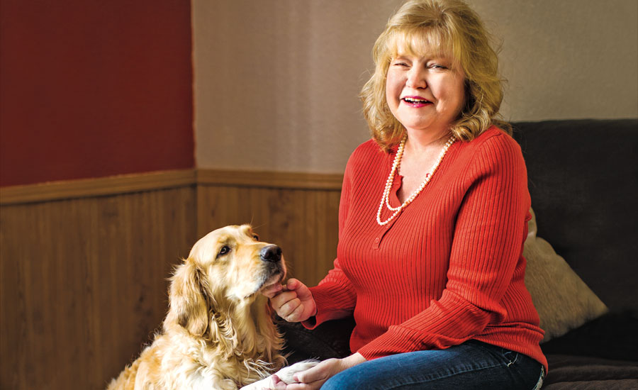 Laura Beebe with her canine guardian angel, Snow