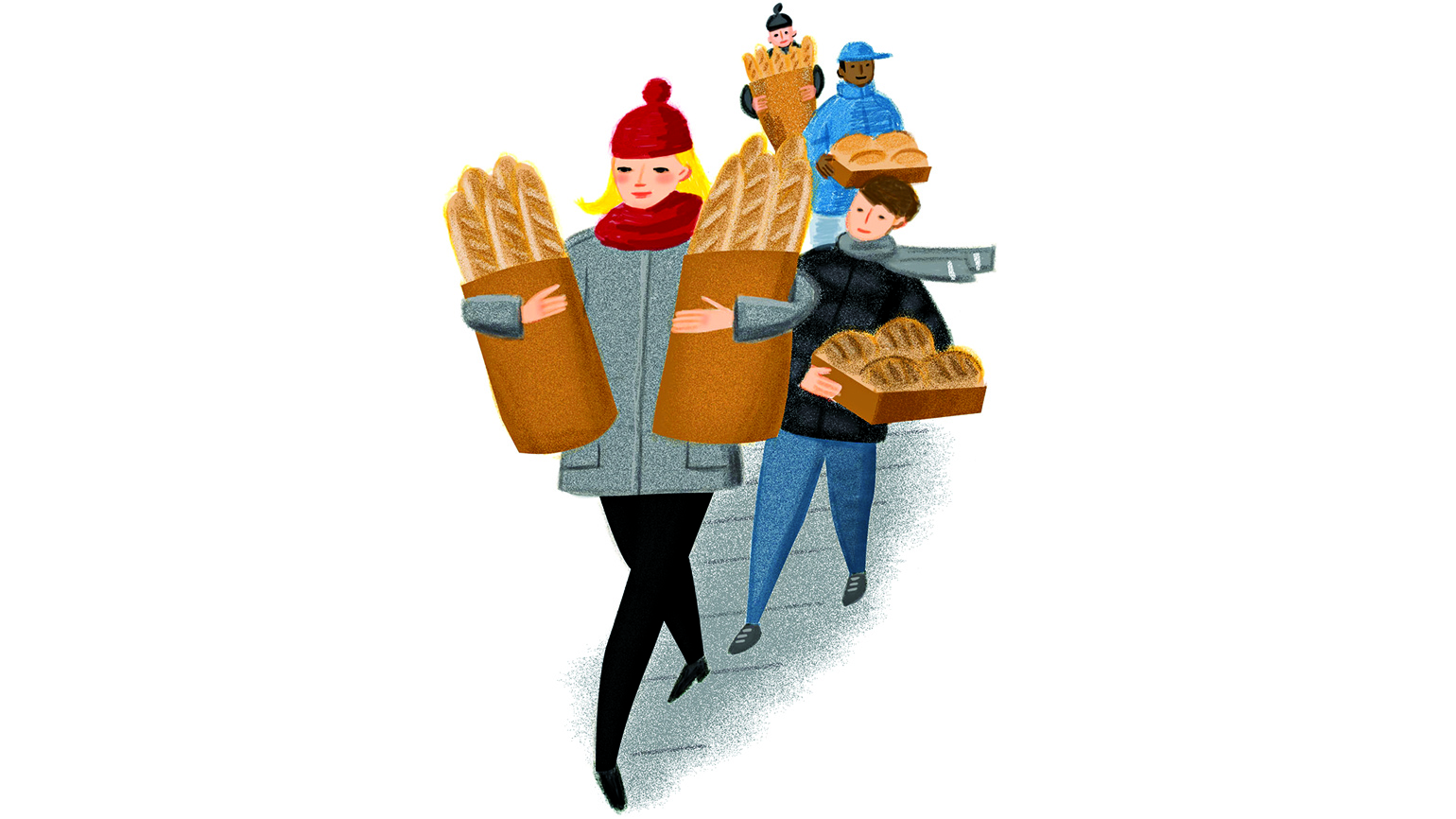 A trail of people dressed warmly carrying various types of bread.