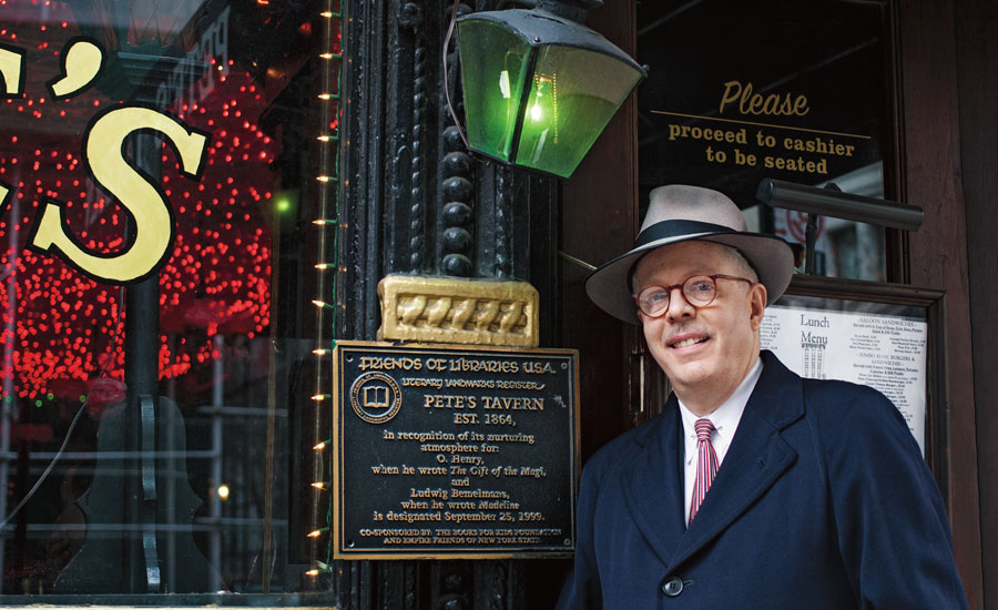Guideposts staffer and NYC tour guide Brett Leveridge outside of Pete's Tavern, where O. Henry wrote Gift of the Magi