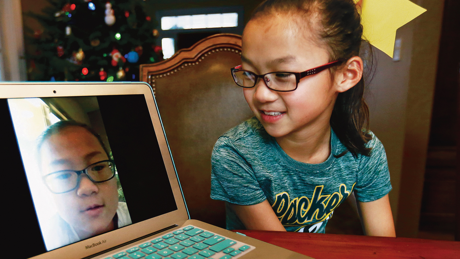 Audrey and Gracie chat via the internet