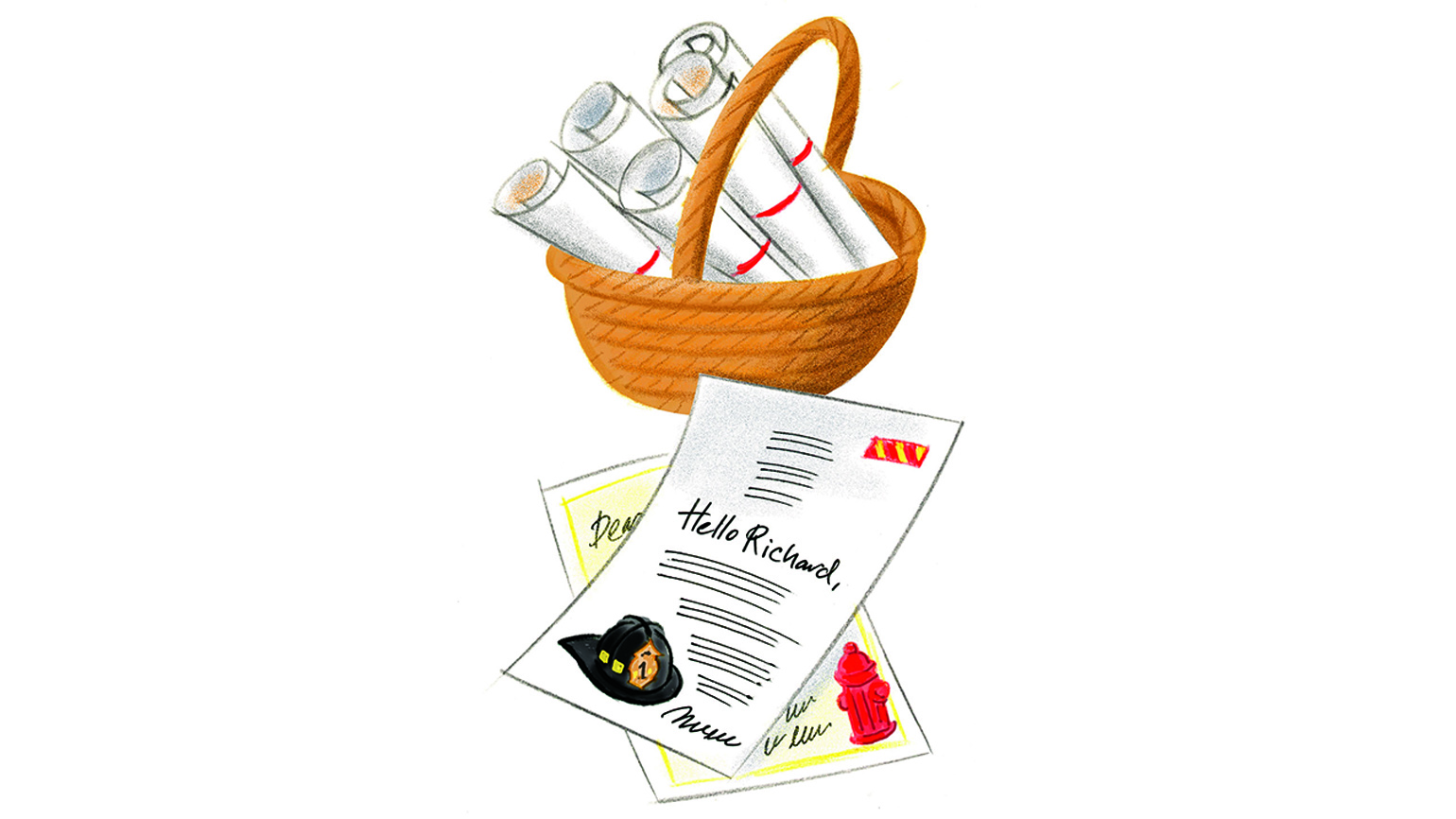 A basket full of letters addressed to Richard, the fireman.