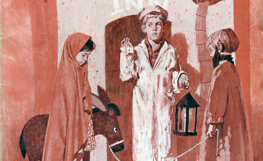 Guideposts: An artist's rendering of children portraying Joseph, Mary and the innkeeper