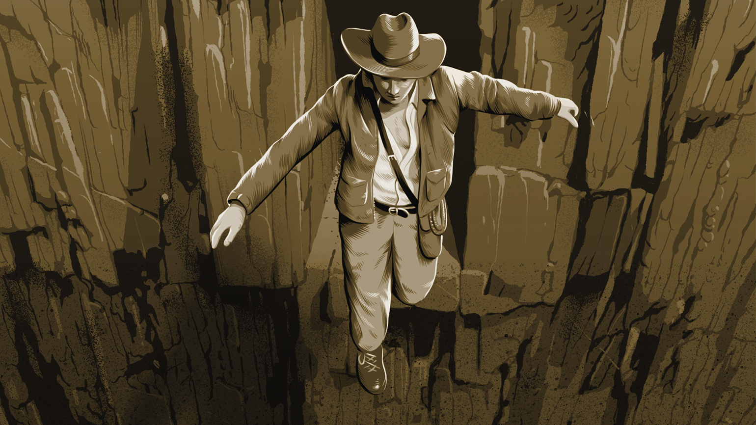 An artist's rendering of Indiana Jones gazing down from the edge of a cliff
