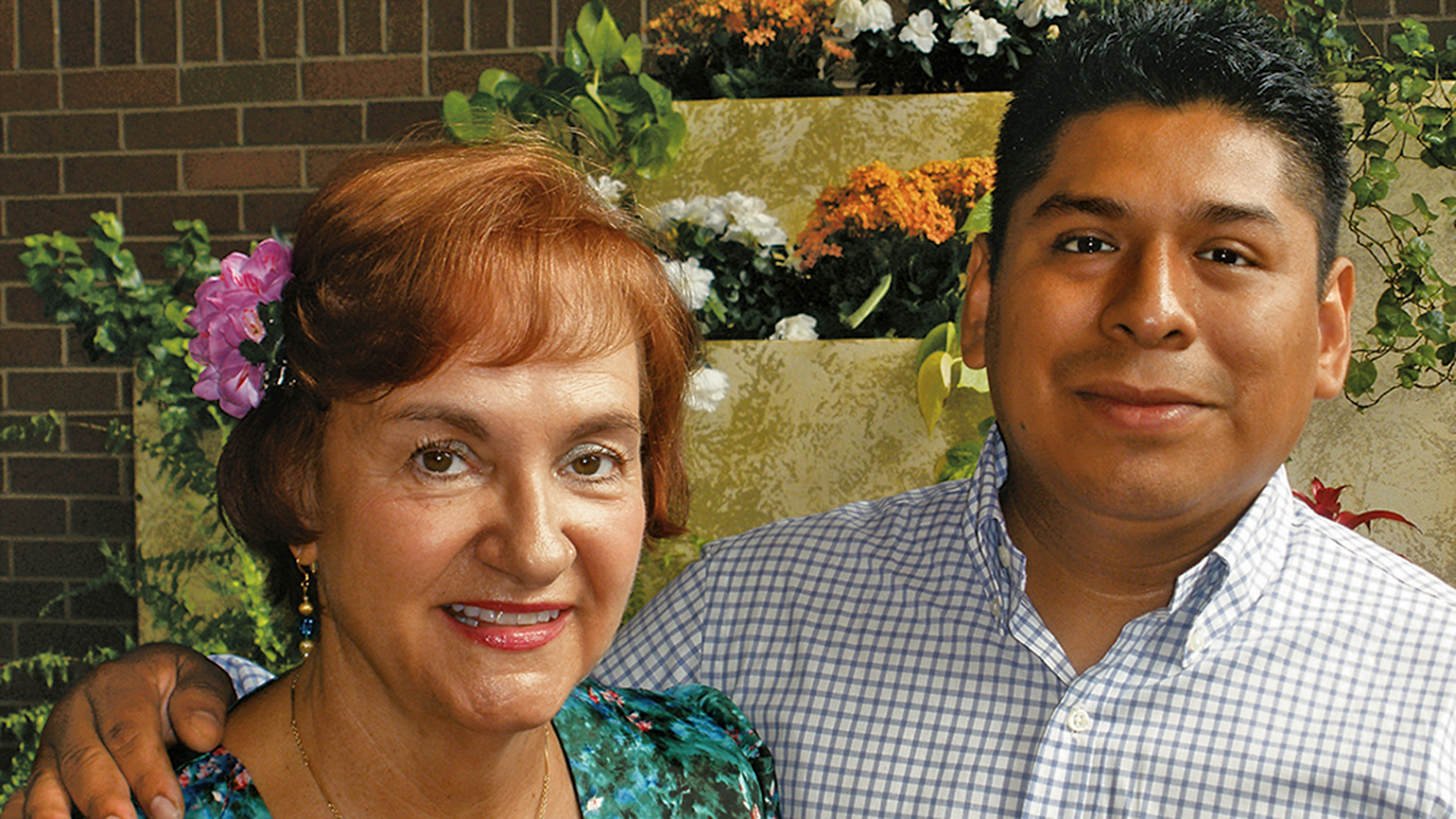 Rosemary and Juan at St. Raphael's, where she first heard about the ESL program.