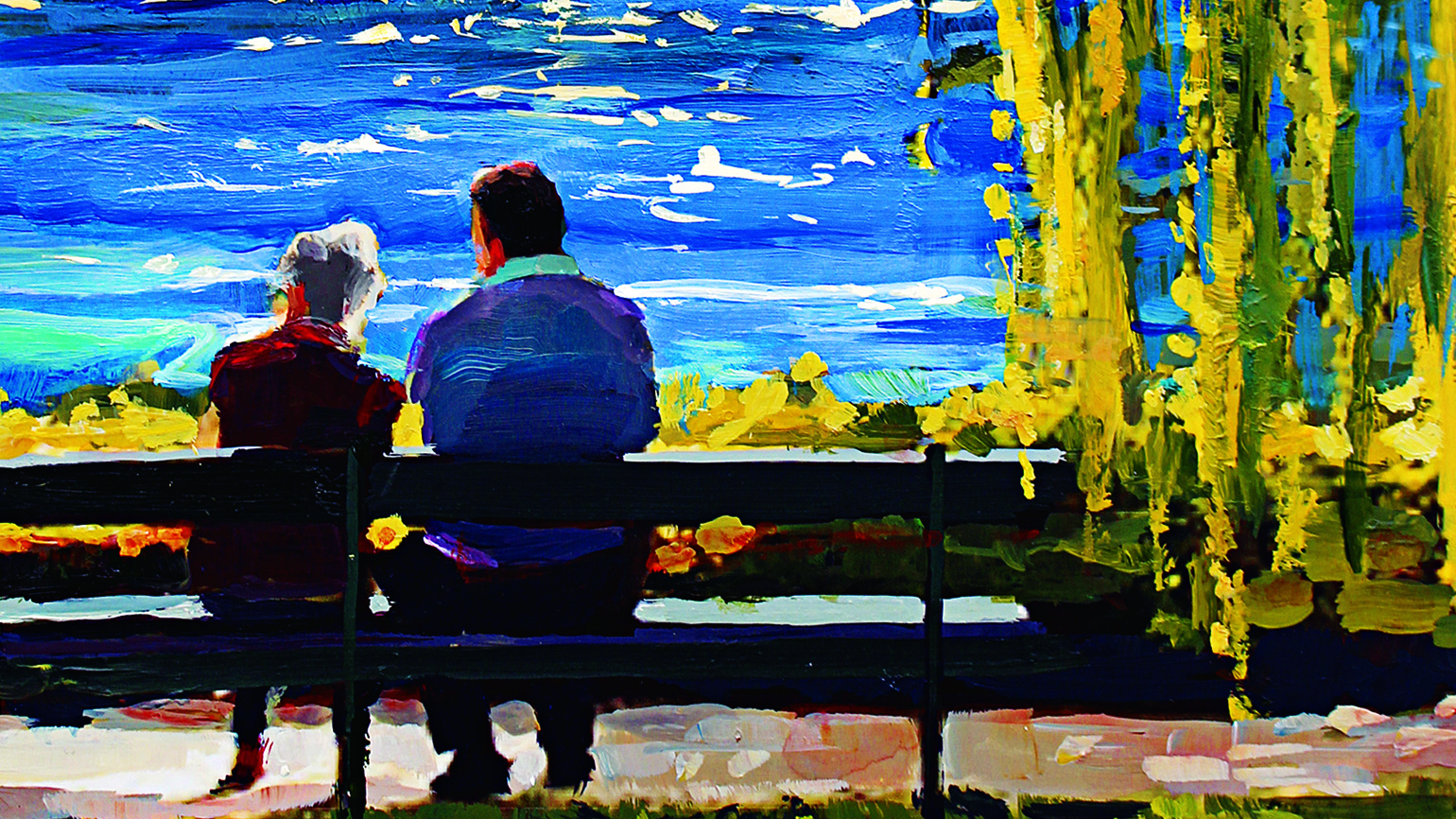 Painting of a man talking to an older woman sitting on a bench by the waterfront.