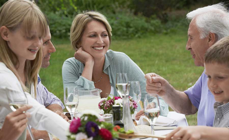 Guideposts: A grandfather dines with his family.