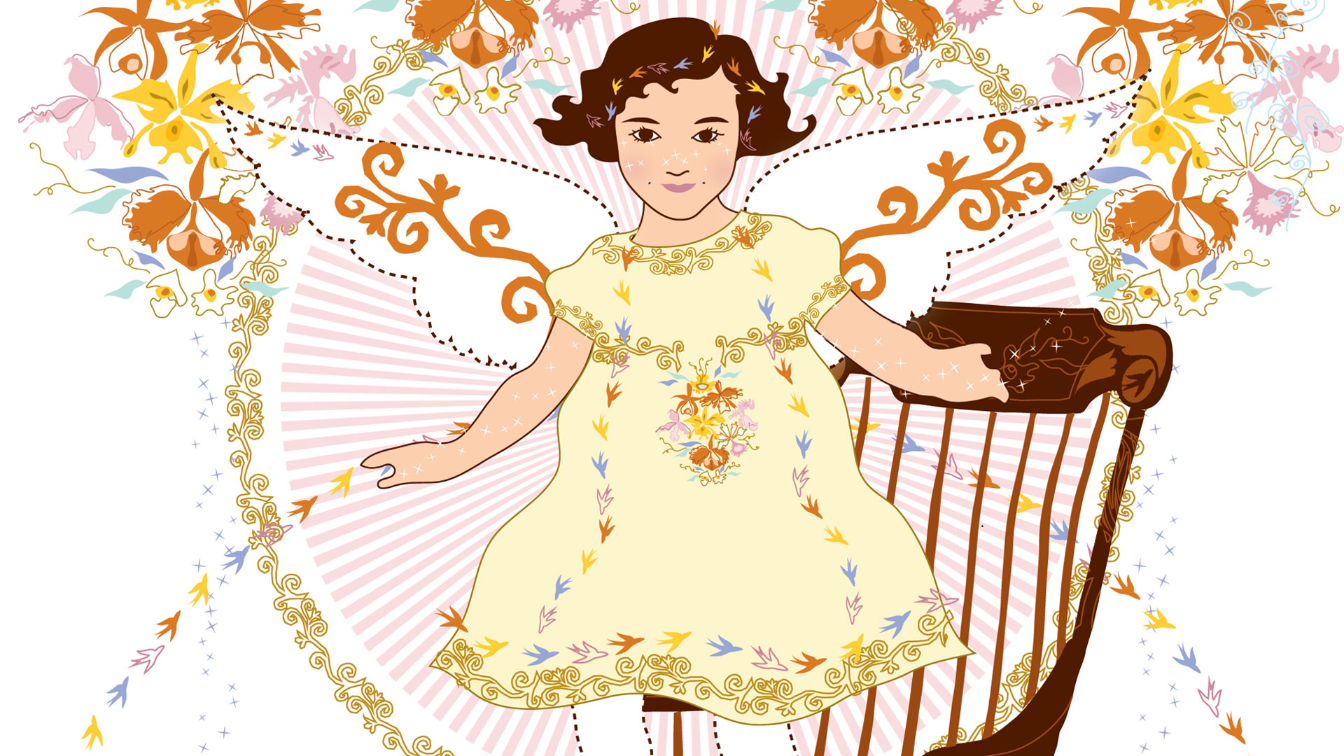 An artist's rendering of an angel on a rocking chair