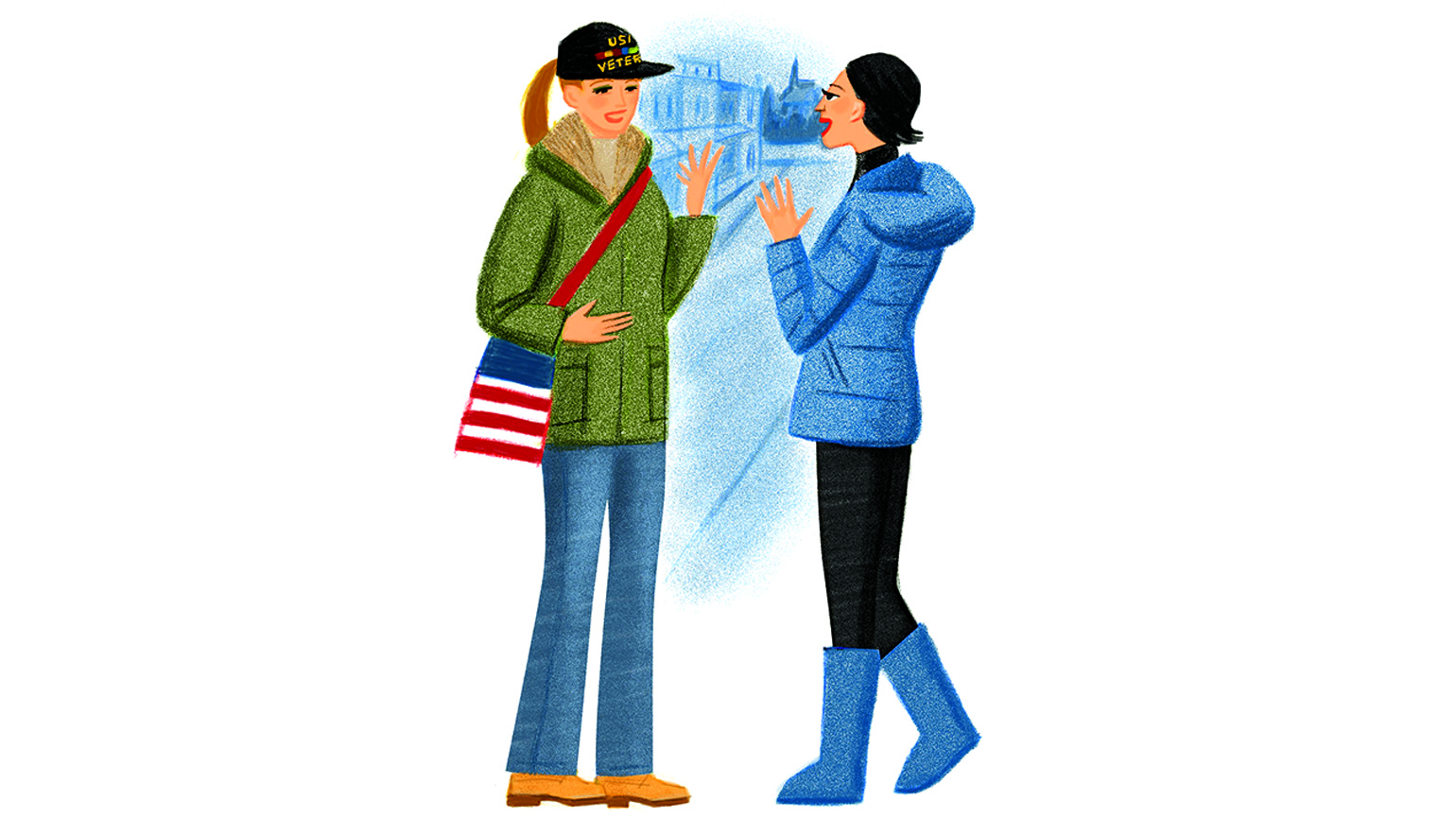 A woman expresses herself in conversation to a welcoming veteran in the outdoors.