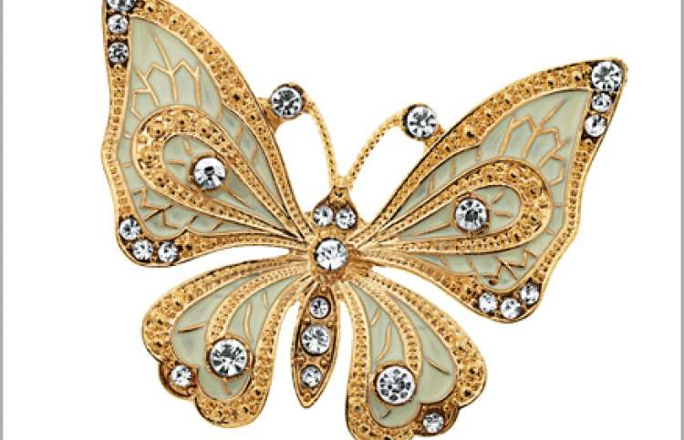 A jewel-studded butterfly brooch