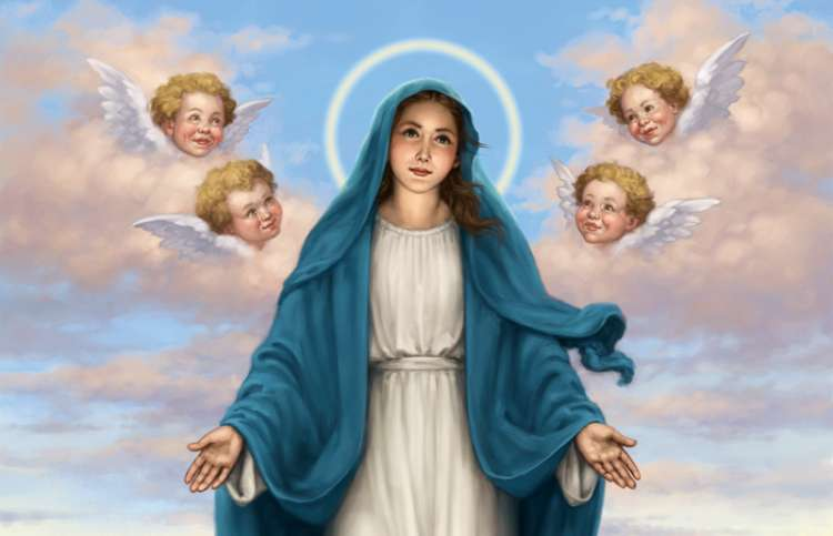 An artist's rendering of the Virgin Mary surrounded by cherubs